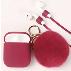 Cute Airpods Case Cover with Pom Pom Keychain